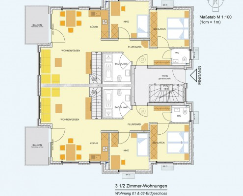 6-Familienhaus in Brackenheim-Hausen - Erdgeschoss-Wohnung mit 3,5 Zimmer