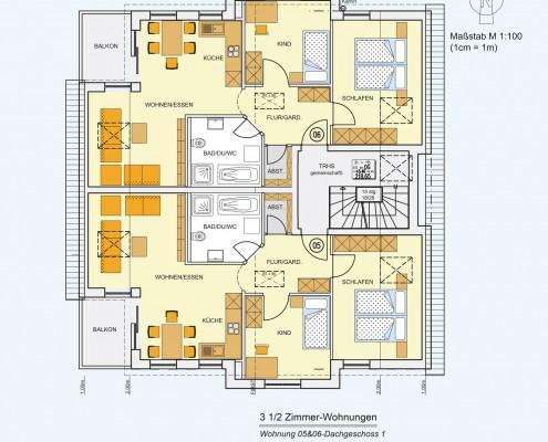 6-Familienhaus in Brackenheim-Hausen - Dachgeschoss-Wohnung mit 3,5 Zimmer